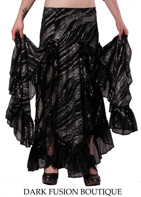 Skirt, Black with Silver Glitter Sparkle, Ruffles, Fusion, Noir, Belly Dance, Dark Fusion Boutique