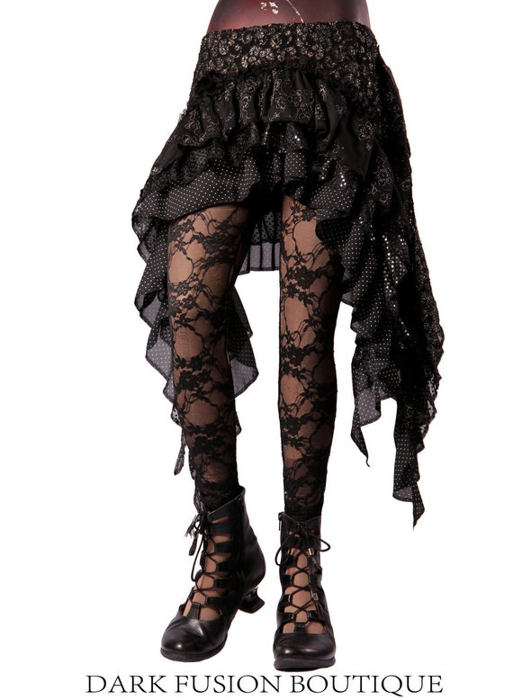 Skirt, Black, Gray, and Silver Combo, Ruffles, Cabaret, Vaudeville, Steampunk, Wrap, Stripes, Noir, Gothic, Dance