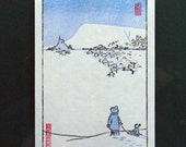 Winter Scene. Original Woodblock Print.