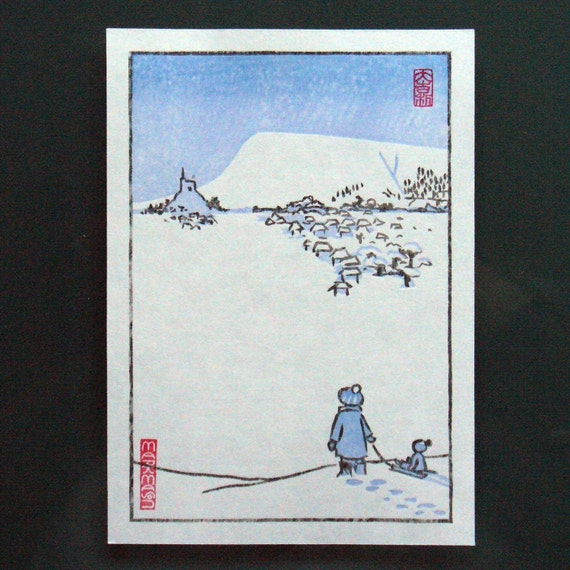 Winter Scene. Original Woodblock Print.