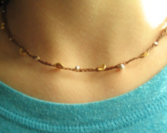 gold sequin braided waxed linen necklace
