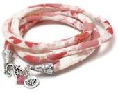 Lotus Pink  Yoga Charm  Wrap Bracelet