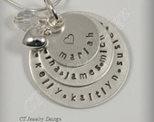 Hand Stamped Personalized Mommy 3 Disc Sterling Silver Pendant Necklace Jewelry