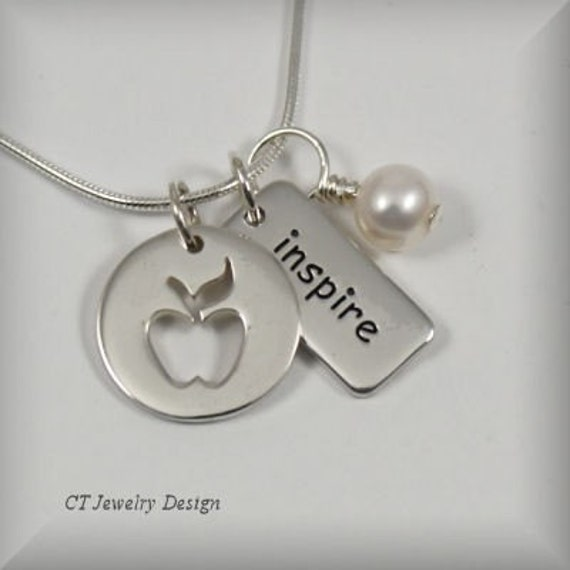 DESIGN IT YOUR WAY with FREE SHIPPING on Sterling Silver 19 Gauge Thick Apple Cutout Pendant Necklace with 19 Gauge Mini Rectangle Inspire Tag and Freshwater Pearl