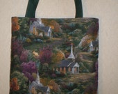 Thomas Kinkade Tote Bag Church Chapel Handmade Purse LIMITED