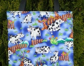 Cow Tote Bag Cows Farm Country Fence Flowers Trees Moo Last One SALE