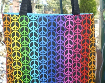 Peace Sign Tote Bag Groovy Cool Retro 70s 60s Fun Book or Lunch Bag Great Gift Handmade Purse