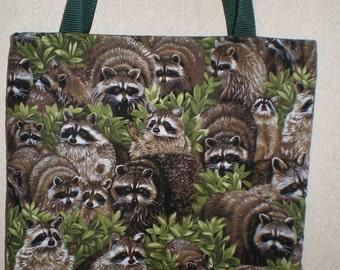 Raccoon tote bag Backyard Bandit Wildlife Handmade Purse Fully Lined Limited