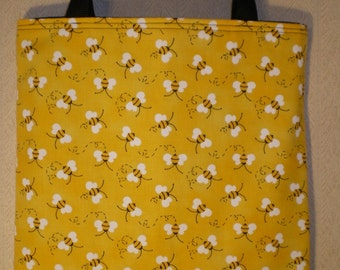 Bumble Bee Tote Bag Bees on yellow Handmade Purse Limited