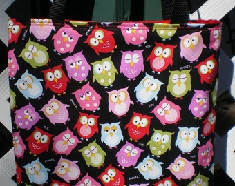 Owls Owl tote bag Colorful Bright Snooze Zzzz LIMITED
