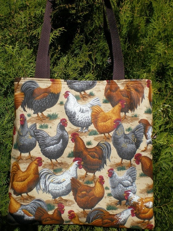 Chicken Tote Bag Hen Rooster Farm Country Realistic Handmade Purse Limited