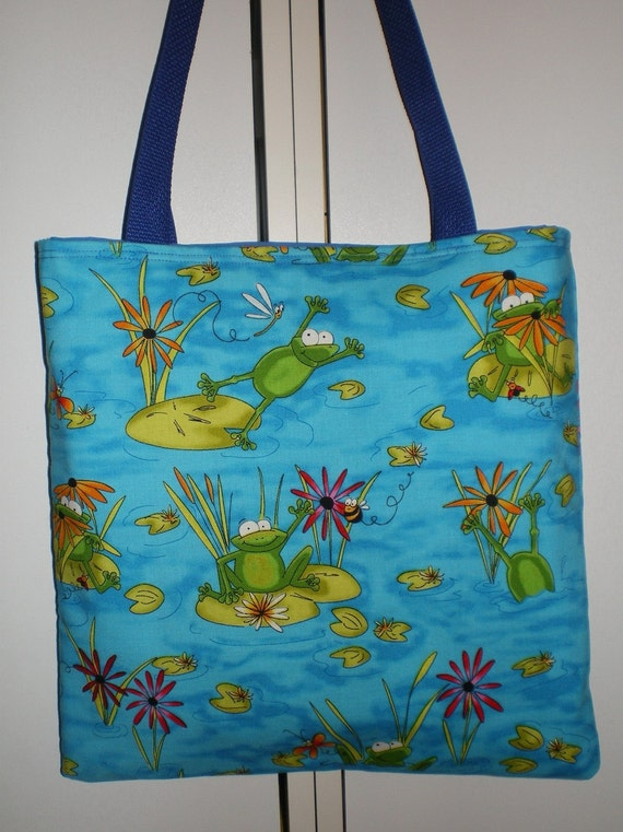 Frog Frogs Lilypad tote bag Frog Pond Bee Cattail LIMITED Sale Sale