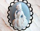 Blue Marie Antoinette Victorian Cameo Ring