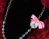 Alice In Wonderland White Rabbit Beaded Cameo Necklace