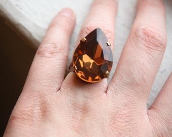 Athena Large Topaz Jewel Vintage Brass Ring