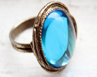 Capri Teal Blue and Gold Ornate Ring
