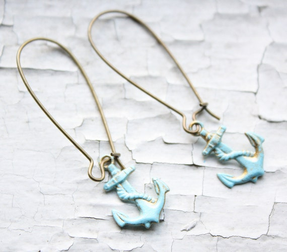 Anchors Aweigh Brass Kidney Earrings with Patina Finish