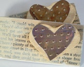 Rustic Heart Magnets Wood and Metal Set of 2
