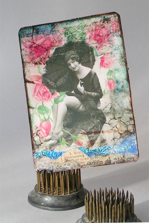 Lady with Umbrella ATC ACEO Digital Altered Art