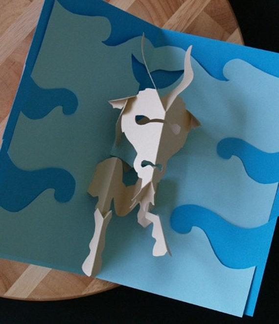 Kirigami Capricorn (Sea Goat) Pop-up Card, Make Yourself