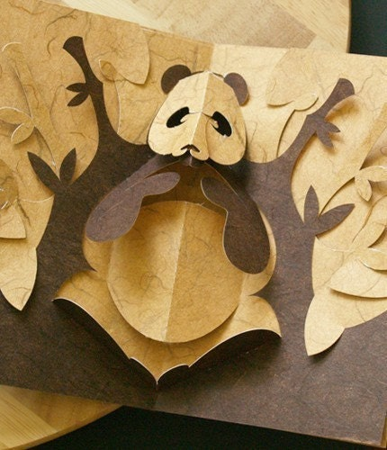 pop up storybook template - kirigami panda pop up card make yourself by popupcardmaking