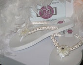 Purely Antique Bridal Flip Flops for Weddings in Antique White or Ivory with Pearls and Rhinestones