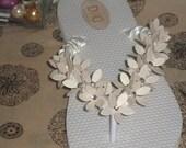 Flower Fields Bridal Flip Flops Beach Slippers for Weddings in Ivory Antique White