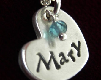 Small Personalized Heart Pendant Mother's Day New Mom Jewelry