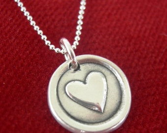 Teeny Tiny Love Heart Necklace Sterling Silver