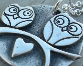 Mothers Day Personalized Owl Be Loving You Necklace Original Sterling Silver PMC Mom Jewelry