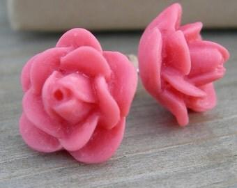 Coral Pink Rose Sterling Post Earrings