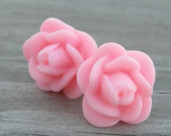 Soft Pink Rose Sterling Post Earrings