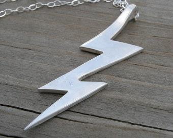 Lightning Bolt Personalized Necklace Rockstar new Mom Dad Unisex Kickass Pendant