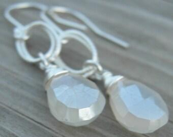 Mystic Pearl Chalcedony Sterling Earrings