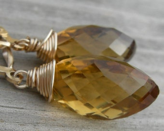 Whiskey Quartz Marquise Gold Fill Earrings