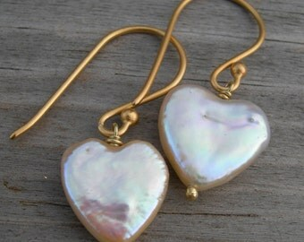 Pink Pearl Hearts Vermeil Earrings