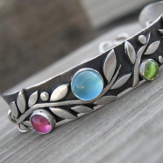 Spring is Innevitable Bracelet Sterling Pink Tourmaline Blue Topaz Peridot Garnet