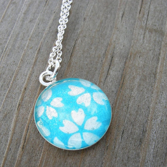 Turquoise Blue White Floral Origami Paper Pendant Spring Fashion