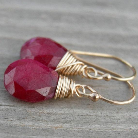 Little Red Ruby Gold Fill Earrings July Birthstone