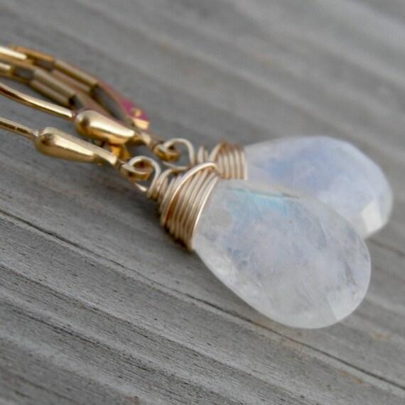 Moonstone Gold Fill Earrings June Birthstone