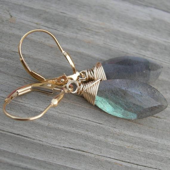 Labradorite Gold Fill Earrings
