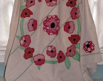 red poppy table cloth vintage flour sack / card table cover  SALE