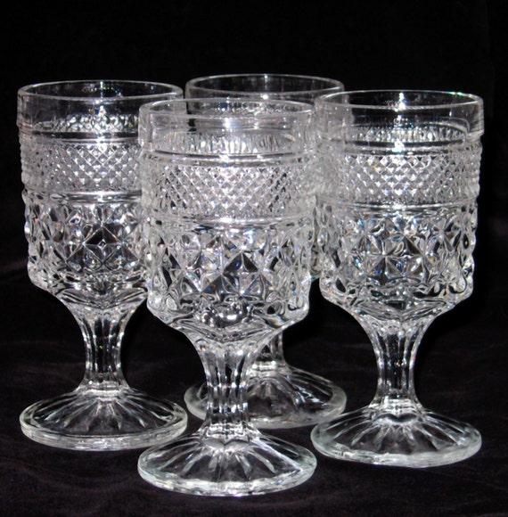 Vtg Anchor Hocking Wexford Wine Juice Goblets Set of 6 Crystal Glass