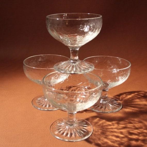 Vintage Crackle Pattern Anchor Hocking Glass Sherbet Dessert Stem 4