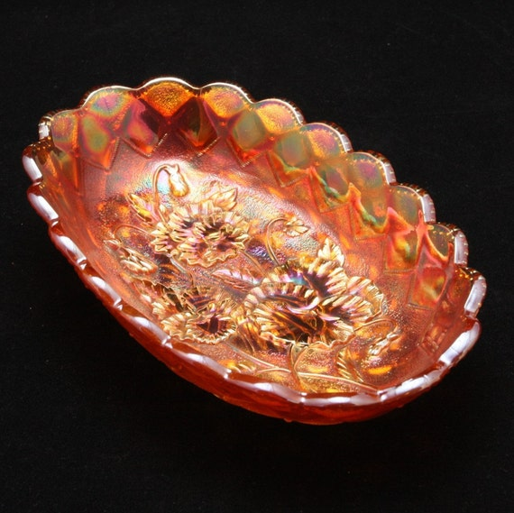 Pansy Marigold Carnival Glass Pickle Dish Imperial By Charmings