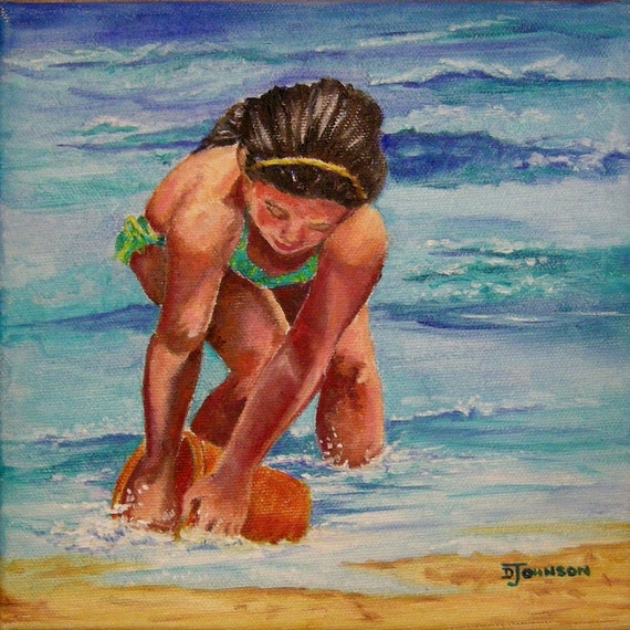 8 by 8 inch Original Oil Painting of Girl on Beach