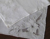 Vintage Hanky LOT 2 Hankies NET-Lace and Linen Floral Embroidery