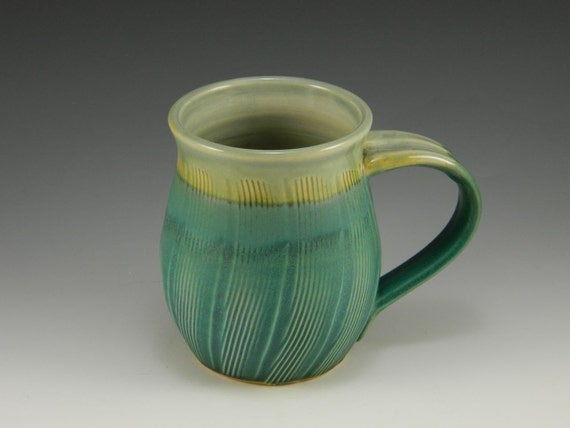 Celadon and Turquoise Matte Hand Carved Coffee Cup