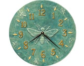 Ceramic Wall Clock- Honeybee Light Blue 12 inches diameter