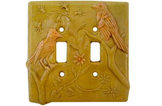 Birds Ceramic Light Switch Cover (double toggle- apricot gold)